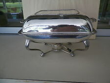 VINTAGE ALPACA SILVERPLATED 2 SECTION FOOTED FOOD WARMER