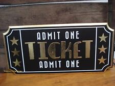 CINEMA THEATER movie TICKET DECOR WOOD PLAQUE home wall art reels cola gold SIGN