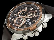 IMPORTED Casio Edifice EFR-539L Chronograph Mens Watch Brown Leather strap