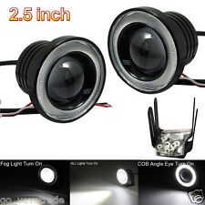 2.5 Car Fog Light COB LED Projector White Angel Eye Halo Ring DRL Driving Bulbs