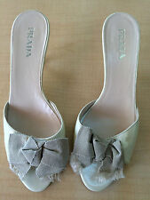 PRADA tan Fabric Bows SLIDES HEELS SHOES 38