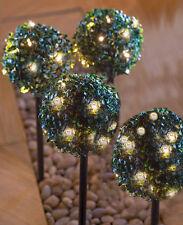 x4 LIGHT UP PRE-LIT GARDEN TOPIARY BALL BUSH SPIKE WHITE LED CHRISTMAS DECOR