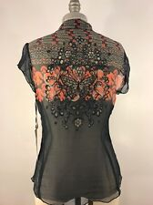 4 LOVE AND LIBERTY BY JOHNNY WAS BUTTERFLY TOP SIZE S NWT