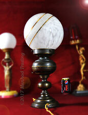 Rare 1940 French bronze Art deco table lamp vintage Saturn marbled Globe shade