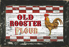 Rustic Country Primitive Diner Kitchen Home Decor Rooster Flour Chicken Art