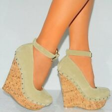 CORK WEDGED PLATFORMS WEDGES STUDS ANKLE STRAP CUFF COURT SHOES HIGH HEELS SIZE