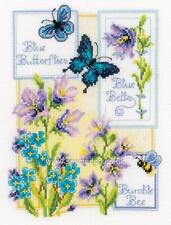 VERVACO Counted Cross Stitch Kit BLUE BUTTERFLIES AND BLUE BELLS