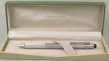Levenger L-Tech Silver Ballpoint Pen w/Stylus - New In Box