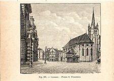 Stampa antica veduta di LOSANNA LAUSANNE cantone Vaud Svizzera 1910 Old print