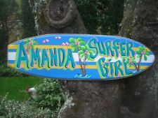 SUFER GIRL PERSONALIZED DECORATIVE TROPICAL SURFBOARD ART ROOM SIGN PLAQUE