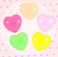 5 x Large Colourful HEARTS Flat Back Cabochons Embellishments Deco Kawaii Craft