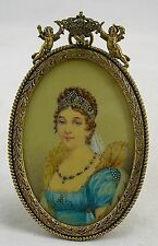 Antique Victorian miniature portrait painting of a lady in French bronze frame