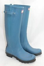 Womens Hunter Original Slim Two Tone Rubber Rain Boots Tall Mineral Blue 9US 7UK