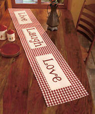 "Bergundy Plaid 72"" LIVE LOVE LAUGH TABLE RUNNER Americana Lodge Country Charm"