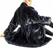 L XL kunstpelzmantel persa webpelz visón azul artificial fur coat like Mink