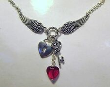 """Angel Wings, Key, and Hearts Necklace 18"""" + 2"""" extender"""