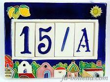 Numeri civici cornice in ceramica,piastrelle,numero civico mattonella a 4 posti