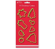 8 CHRISTMAS COOKIE BISCUIT PASTRY PLAYDOH CUTTERS BAKING SET TREE STAR BELL HCCT