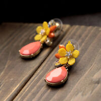 Costume Fashion Earrings Studs Tear Drop Pink Yellow Flower Vintage Events C5