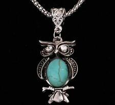 Vintage Oval Turquoise Stone Crystal Moonstone Owl Bird Pendant Necklace