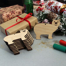 Wooden Polar Bear Christmas Blank Craft Shapes Decorations x 10