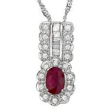 Lovely Pendant W/1.18 ctw Genuine Diamond & Genuine Ruby in 925 Sterling Silver