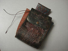 Hand Made Native American Tooled Leather Belt Sack Pouch Purse Zodiak Poem