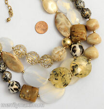 Wow! Chico's Signed Necklace Gold Tone Chunky Bead Faux Stone Sparkle Fairy Dust