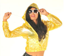 NEW FESTIVAL PVC BOMBER JACKET STYLE FESTIVAL RAINCOAT CLEAR YELLOW SMALL