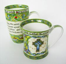 Irish Blessing Mug Irish Weave Celtic Cross Clara Bone China Colorful