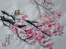 Oridental art Hand Paint Chinese watercolor painting plum blossom&bird signed