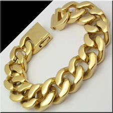 "166G HEAVY HUGE MENS STAINLESS STEEL CUBAN CURB LINK GOLD BRACELET (9""x 20mm)"