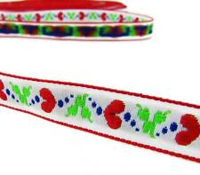 """2 Yds Valentine Red Hearts White Woven Jacquard Ribbon 1/2""""W"""