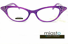 "MIASTO CAT EYE SEXY FUN ""CAT WOMAN"" RHINESTONES READER READING GLASSES+1.50"