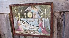 VINTAGE MID CENTURY JESUS WITH ANGELS PRINT ANTIQUE HOME & GARDEN FRAME WALL ART