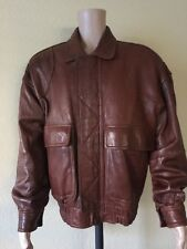 ANDREW MARC New York Brown Soft Leather Flight Bomber Jacket Coat Mens L-XL