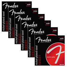 6 Sets of Fender 250M Nickel-Plated Steel Medium Electric Guitar Strings (11-49)