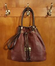 Valentina Italian Design Pebbled Leather Two-Tone Drawstring Bucket Bag