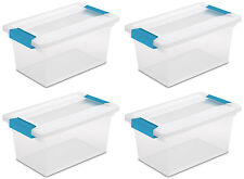 4 Pack) Sterilite 19628604 Medium Clip Box Clear Storage Tote Container with Lid