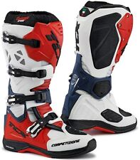 STIVALI BOOTS MOTO MX CROSS ENDURO TCX COMP EVO MICHELIN WHITE RED BLU TG 45