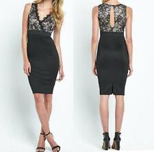 US SELLER-NEW WOMENS FLORAL LACE OVERLAY TOP BLACK SHORT SEXY DRESS--L 9441
