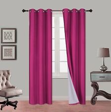 2PC Lined 100% Heavy Thick Blackout Grommet Window Treatment Curtain Panels NOA