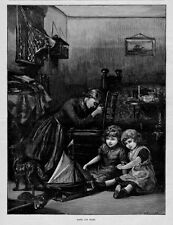 SAILORS WIFE PRAYING FOR HER HUSBAND AT SEA CHILDREN DAUGHTERS PLAY TOY SAILBOAT