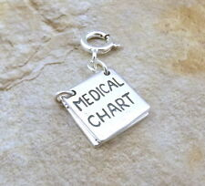 Sterling Silver Medical Chart Charm on a  Spring Ring for Charm Bracelets-0788