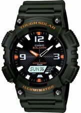 Casio Solar Analog/Digital Watch, Green Resin, 100 Meter, 5 Alarms, AQS810W-3AV