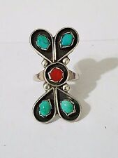 Vintage South West Sterling Silver, Coral, &  Turquoise Ring  sz 6