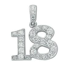 925 Sterling Silver CZ Number 18th Birthday Eighteenth Pendant Gift SPD0058