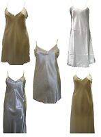 Ladies Sexy Silk Satin Long Nightdress Nightgown Sleepwear Chemise Lingerie