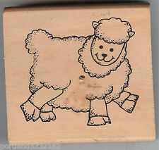 Wood Mounted Rubber Stamp Lamb, Woolly Sheep, Animals S25