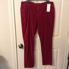 New Vera Wang stretch cotton spandex 16 Glamour red velour pants skinny midrise